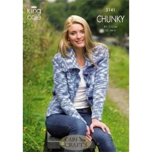 King Cole Magnum Chunky 3141 Short & Long Cardigans Knitting Pattern