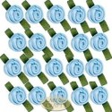 Small Light Blue Ribbon Roses With Green Leaf