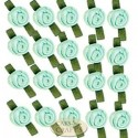 Small Pastel Green Ribbon Roses With Green Leaf