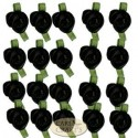 Small Black Ribbon Roses With Green Leaf
