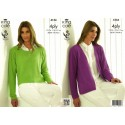 Bamboo Cotton 4ply Ladies Cabled Sweater & Slipover