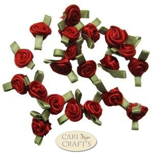 Small Red Ribbon Roses With Green Leaf