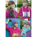 King Cole Double Knit & Chunky 3298 Girls Hat, Scarves, Gloves & Handwarmer Knitting Pattern