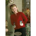 King Cole Double Knit 3285 Father Christmas Slipover & Snowman Cardigan Knitting Pattern