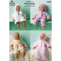 King Cole Double Knit, & Sprinkles 5000 Dolls Clothes Knitting Pattern