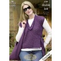 King Cole Double Knit 3189 Tunic, Shoulder Bag & Wrapover Cardigan Crochet Pattern