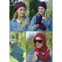 King Cole Double Knit & Aran 3300 Lady's Hats, Mittens, Gloves & Snood Knitting Pattern