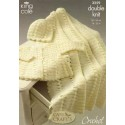 King Cole Baby Comfort Double Knit 3259 Coat, Shawl & Hat Crochet Pattern