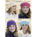 Country Style 4Ply Knitting Pattern 8439 Berets and Hats