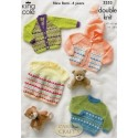 King Cole Baby Comfort Double Knit 3353 Cardigans, Dress & Sweater Knitting Pattern