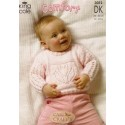 King Cole Baby Comfort Double Knit Long & Short sleeved Sweater and Blanket Knitting Pattern