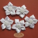 5 Petal Ribbon Flower White