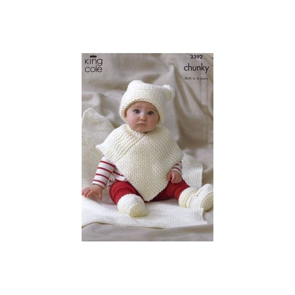 King Cole Baby Comfort Chunky Knitting Pattern 3392 Poncho Hat