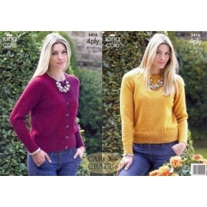 King Cole 4Ply Knitting Pattern 3416 Sweater and Cardigan