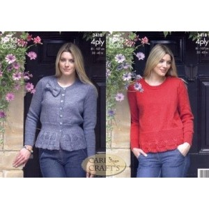 King Cole 4Ply Knitting Pattern 3418 Cardigan and Sweater