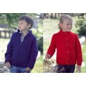 King Cole Big Value Chunky Knitting Pattern 3256 Girls Buttoned Cardigan and Boys Zipped Cardigan