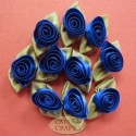 Large satin ribbon roses Butter Cup