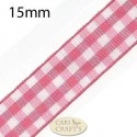 15mm Gingham Ribbon Red