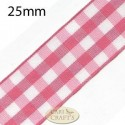 25mm Gingham Ribbon Red