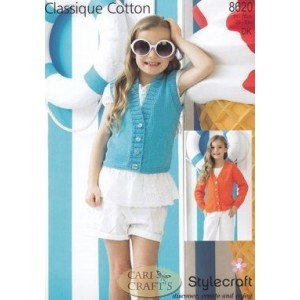 Style Craft Classique Cotton DK Knitting Pattern 8620 Cardigan and Waistcoat