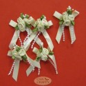 Satin ribbon rose clusters Colonial Mix