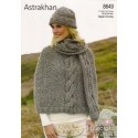 Stylecraft Astrakhan Super Chunky Knitting Pattern 8649 Poncho, Hat and Scarf