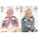 King Cole Baby Comfort Prints DK Knitting Pattern 3558 Gilet, Jacket and Hat