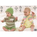 King Cole Baby Comfort Prints DK Knitting Pattern 3561 Cardigan, Sweater, Shorts and Hat