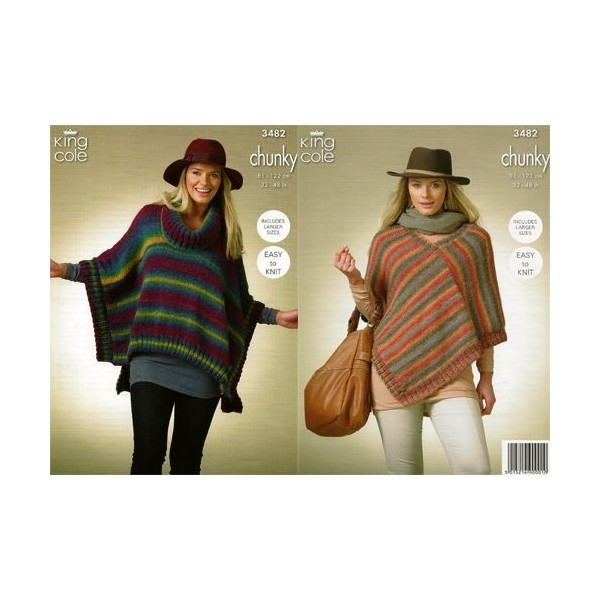 King Cole Riot Chunky 3482 Womans Square Poncho Pointed Poncho