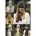 King Cole 2776 Magnum Chunky, Mohair, Aran & DK Hats & Scarves Knitting Pattern